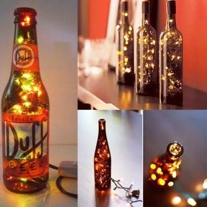 luminaria pisca pisca, cerveja e vinho, garrafa
