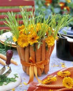arranjo com legumes a casa cheia