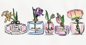 flores em frascos de perfume a casa cheia