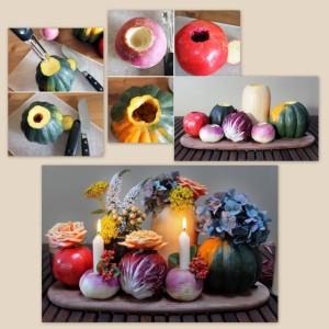 flores em legumes a casa cheia