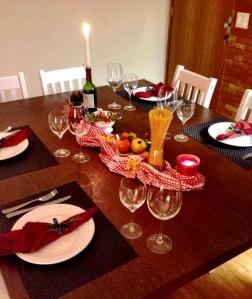 jantar italiano a casa cheia